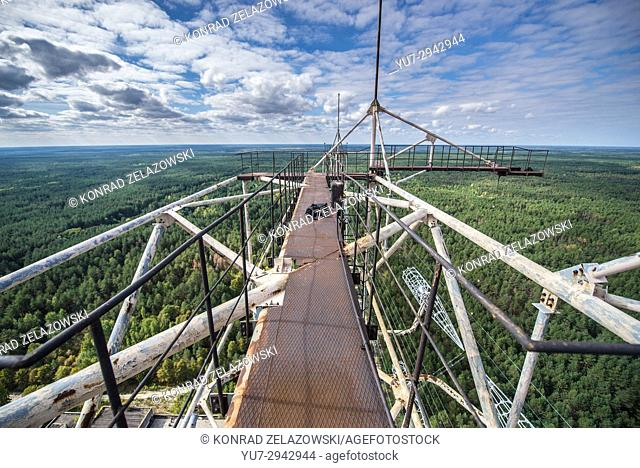 Aerial view from old Soviet radar system called Duga near Cherobyl town in Chernobyl Nuclear Power Plant Zone of Alienation in Ukraine