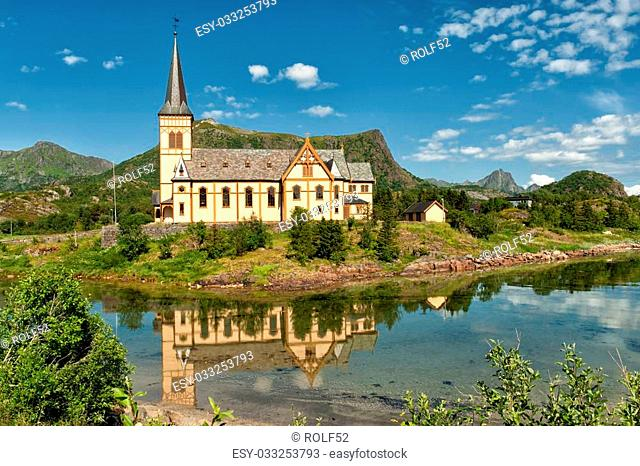V?gan church - the cathedral of Lofoten in northern Norway