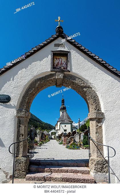 Archway to cemetery, Pfarrkirche St. Sebastian, parish church, Ramsau, Berchtesgadener Land, Upper Bavaria, Bavaria, Germany