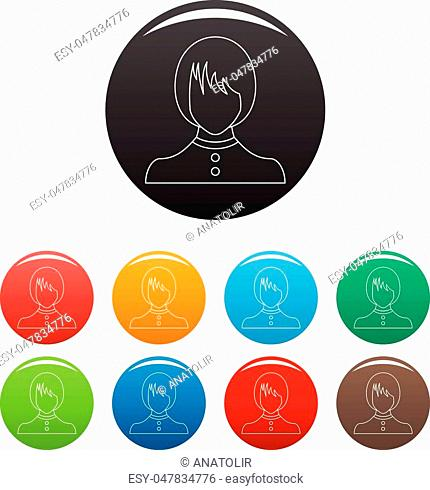 New female avatar icon. Thin line illustration of female avatar vector icons set color isolated on white