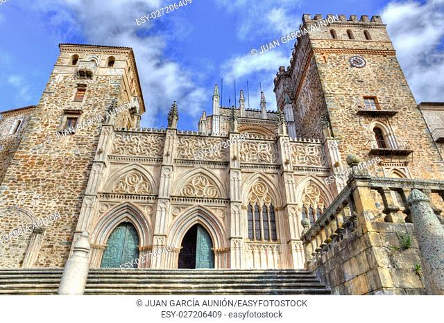 Royal Monastery of St Maria de Guadalupe, Caceres, Spain. Main facade from town place