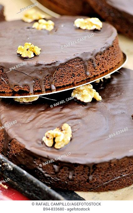 Sacher cakes. Chocolate and Cacao Show, Barcelona, Catalonia, Spain
