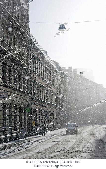 Snow storm ,Malmo, Sweden