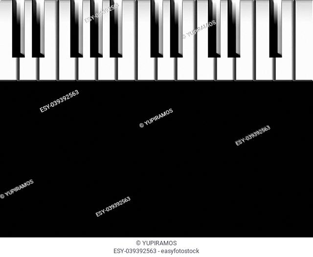 Keys of piano over black background to insert your text or design
