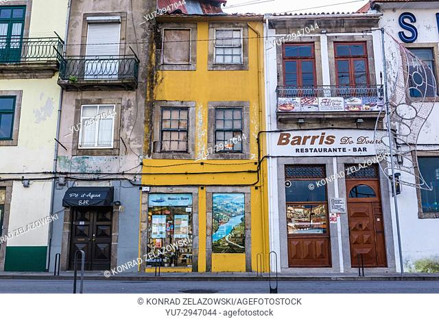 Old buildings on Diogo Leite Avenue in Vila Nova de Gaia city of Portugal