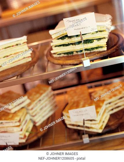 Sandwiches in display cabinet