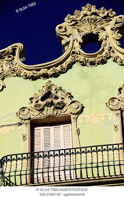Balcony and shuttered window detail. Gracia quarter, Barcelona, Catalonia, Spain