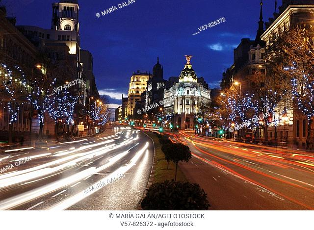 Alcalá street at Christmas, night view. Madrid, Spain
