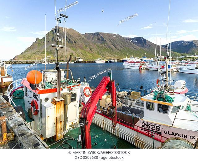 Harbour in Bolungarvik. The Westfjords (Vestfirdir) in Iceland. Europe, Northern Europe, Iceland