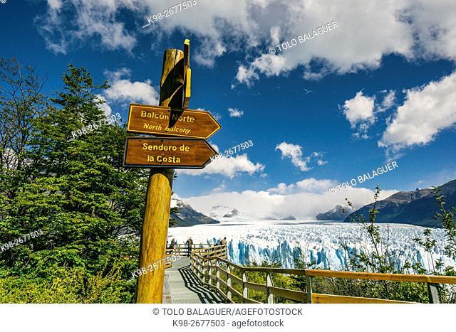 poste de informacion, glaciar Perito Moreno , Parque Nacional Los Glaciares, departamento Lago Argentino, provincia de Santa Cruz, republica Argentina,Patagonia