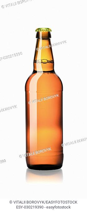 Closed one bottle of beer isolated on white background