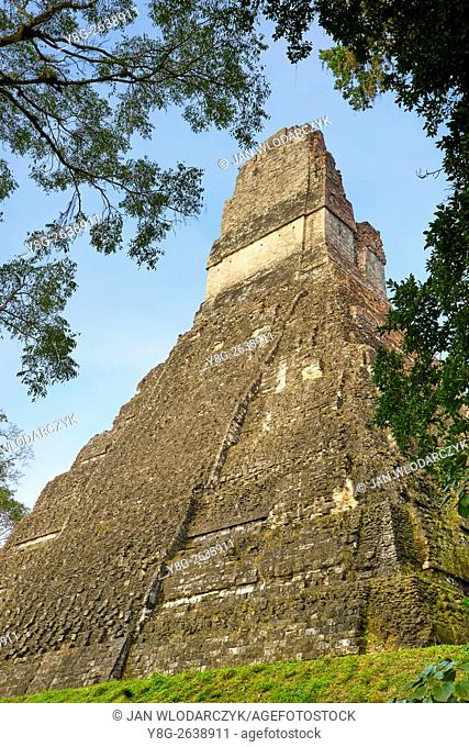 Maya Ruins - Temple of the Great Jaguar (Templo del Gran Jaguar), Tikal National Park, Guatemala, UNESCO