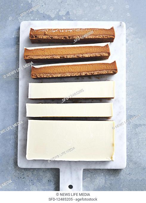 White chocolate and ginger caramel slice