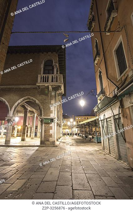 Venice, Veneto, Italy : Twilight at Grand Canal. Rialto market