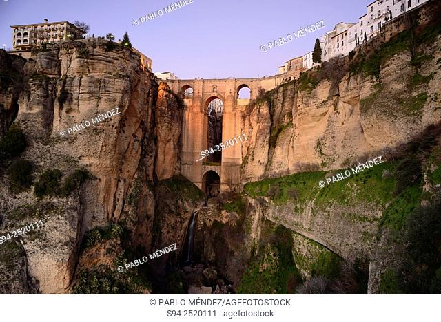 View of the New bridge of Ronda, Malaga, Andalusia, Spain