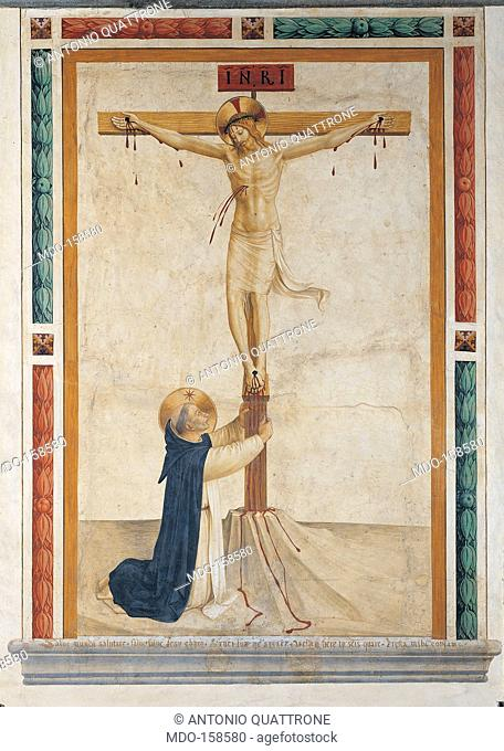 St Dominic Prays Embracing the Crucifix, by Guido di Pietro (Piero) known as Beato Angelico, 1438 - 1446 about, 15th Century, fresco