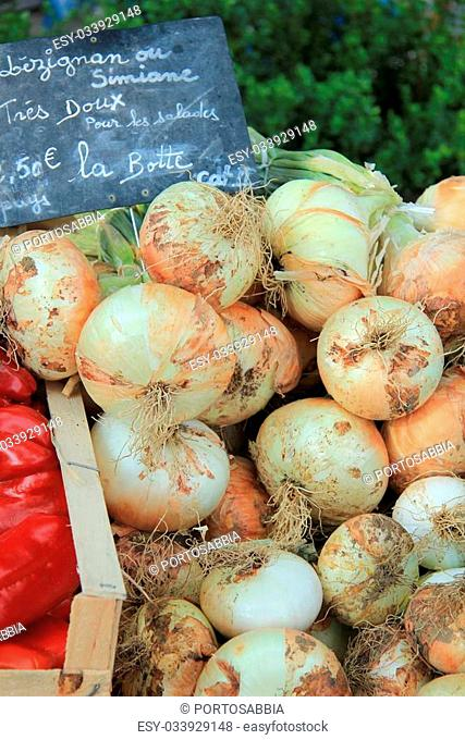 Fresh onions at a French market