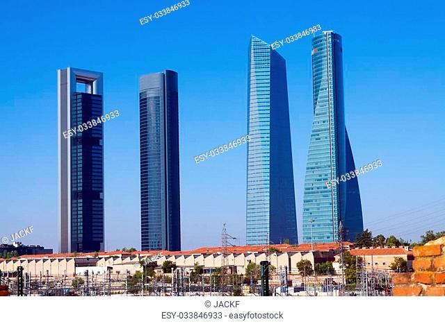 Four Towers Business Area from railroad. Madrid, Spain