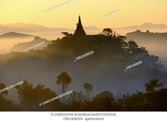 Myanmar, Rakhine State, Mrauk U, Sunrise