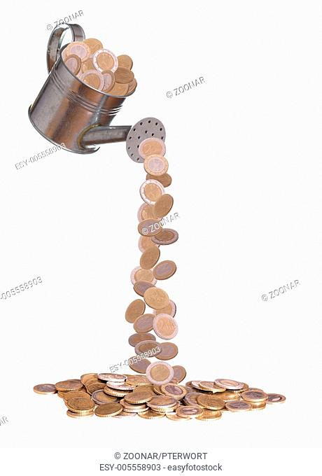 water can with european coins