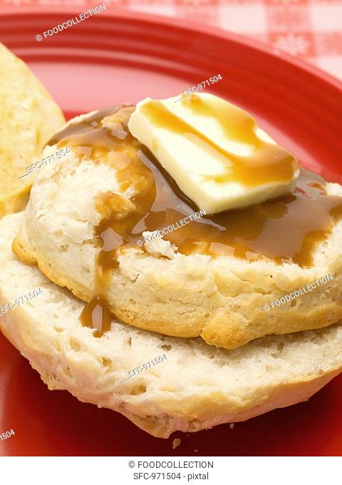 Scone with butter and gravy US biscuit