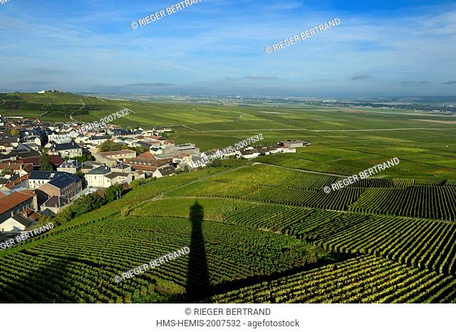 France, Marne, Parc Naturel de la Montagne de Reims (Natural Park of Montagne de Reims), Verzenay, Lighthouse's shadow of the wine museum overlooking the...