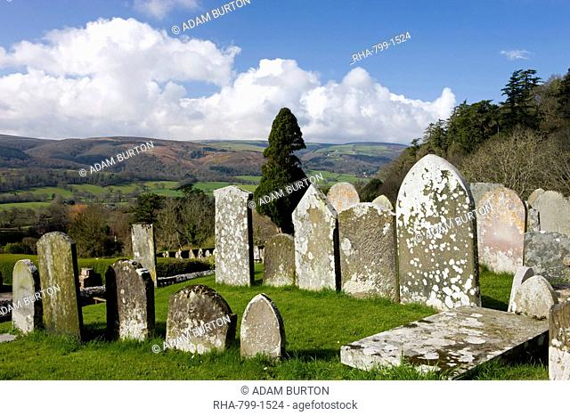 Spectacular views of Exmoor from the graveyard at Selworthy Church, Exmoor National Park, Somerset, England, United Kingdom, Europe