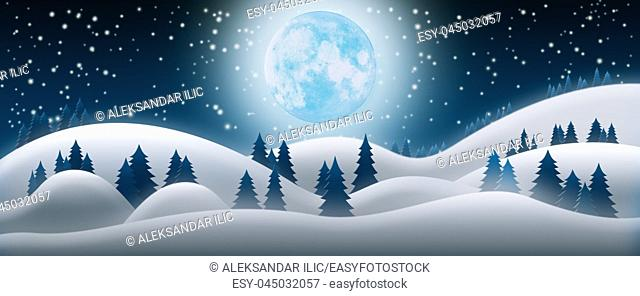 Christmas Night Background. The Snow Fields, Full Moon and Starry Sky 3D Render