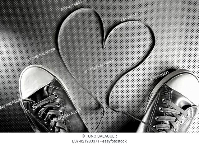 Laces of silver shoes