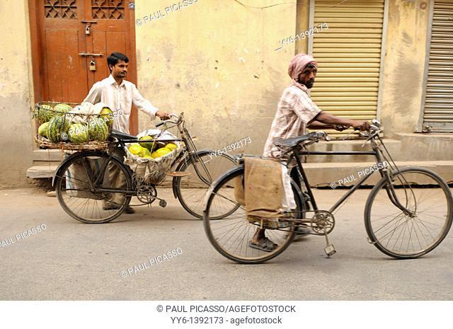 nepalis men heading to morning market , the nepalis , life in kathmandu , kathmandu street life , Nepal