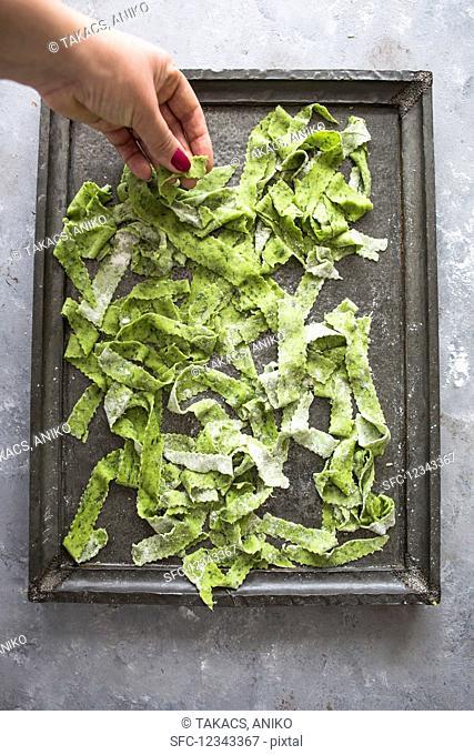 Homemade wild garlic tagliatelle