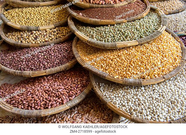 Lentils, peas, peanuts, rice, beans and other legumes for sale on the market in the small town of Zomba in Malawi