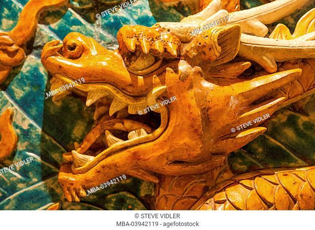 China, Macau, Hotel Grand Lisboa, Wall Decoration Featuring Chinese Dragon
