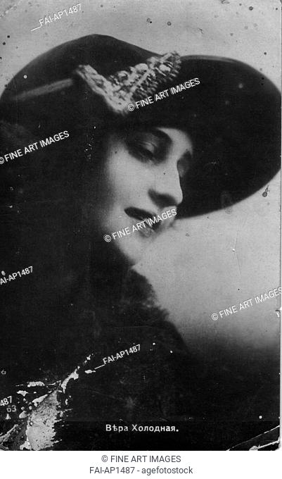Vera Kholodnaya, Russian silent film actor. Anonymous . Photograph. 1910s. Private Collection. Opera, Ballet, Theatre,Portrait