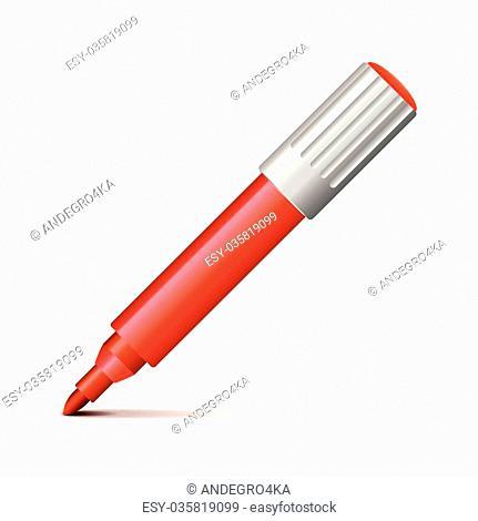 Felt pen isolated on white photo-realistic vector illustration