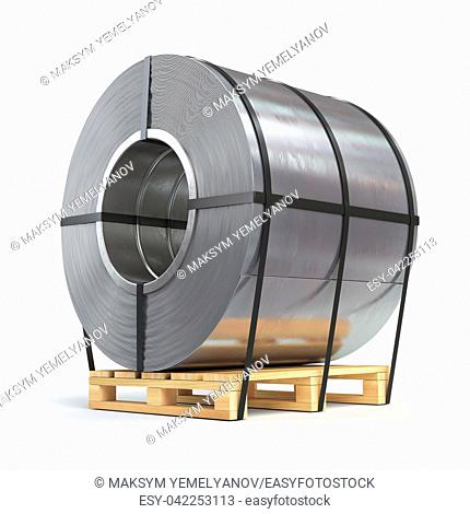 Steel sheet rolled, metal roll on a pallet. Production, delivery and storage of metal products. 3d illustration
