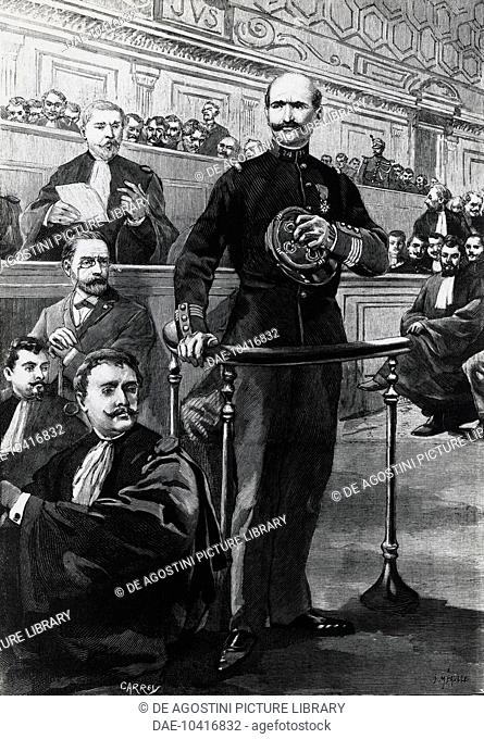 Deposition of Commander Charles Walsin-Esterhazy, during the Emile Zola trial, 1898, Dreyfus affair, drawing by Carrey, engraving by Meaulle, France