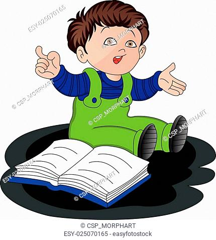 Vector of cute little boy studying