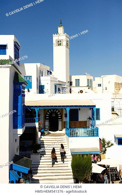 Tunisia, Sidi Bou Sad, village's view whit the mosque