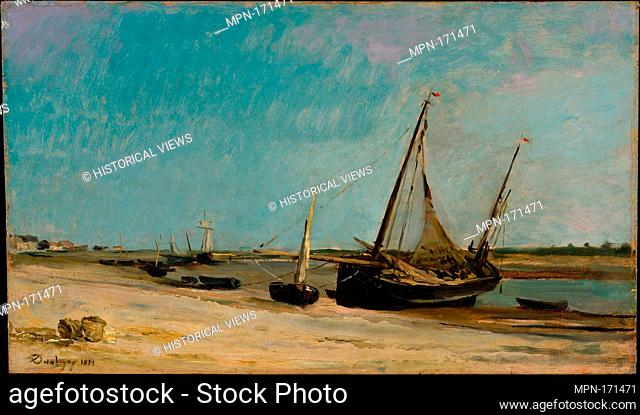 Boats on the Seacoast at Étaples. Artist: Charles-François Daubigny (French, Paris 1817-1878 Paris); Date: 1871; Medium: Oil on wood; Dimensions: 13 1/2 x 22...