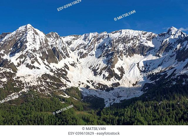 Snow-capped mountain and blue sky