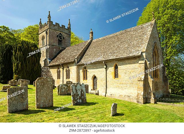 Spring afternoon at Upper Slaughter village in the Cotswolds, Gloucestershire, England