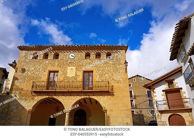 Nogueruelas village in Teruel of Spain at Gudar Javalambre Sierra