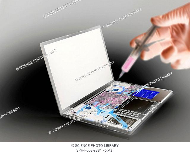 Computer virus. Conceptual image of a laptop being infected with a virus