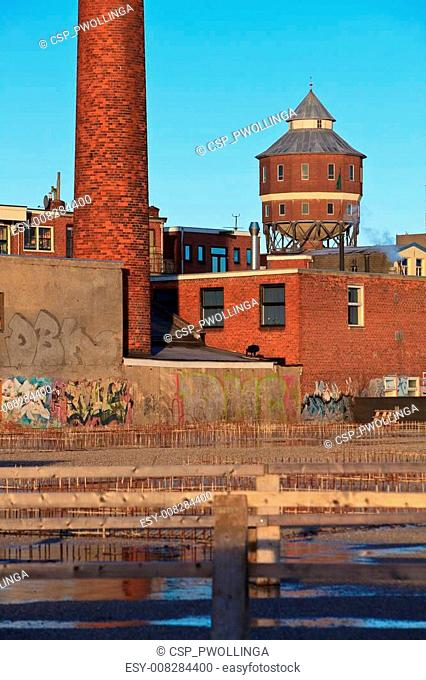 Old water tower and factory