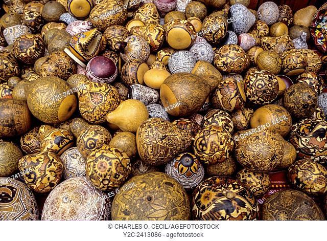 Peru, Pisac. Painted Gourds for Sale as Souvenirs