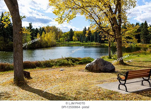 A tranquil lake reflecting autumn coloured trees with a park bench on the shore; Edmonton, Alberta, Canada
