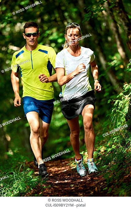 Joggers running in forest