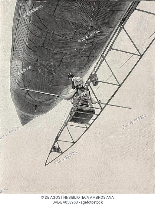 The Santos-Dumont airship No 6's ascent, Saint-Cloud, July 13, 1901, France, photo Gribayedoff, illustration from L'Illustration, No 3047, July 20, 1901