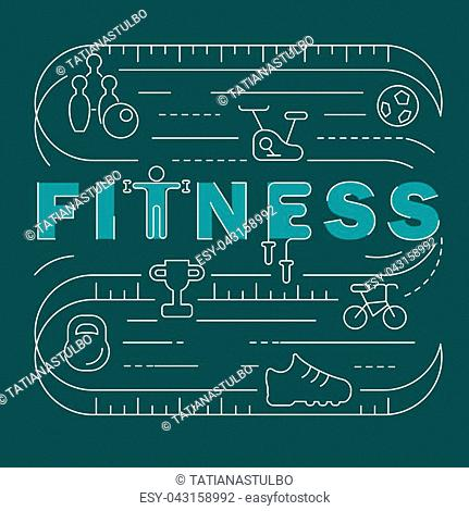 Fitness club banner. Modern thin line icons set of gym equipment, sports recreation activity. Simple symbol collection. Vector logotype concept for web graphics